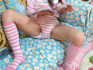 Girl in nighty and diapers